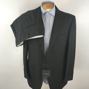 New Canali mens suit solid gray 42r italy ea0349